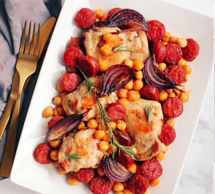 One pot chicken chickpea and chorizo recipe
