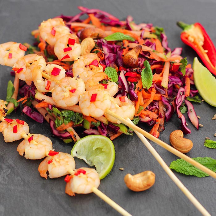 spicy prawn skewers asian slaw