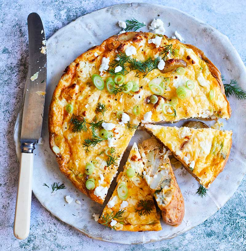 clarence court spring onion feta potato frittata